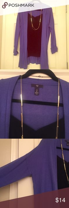 Long sleeved, long length, cardigan from Gap! Open front cardigan from Gap in periwinkle! Great long length in the front and back to wear with leggings. Super soft and light weight. Like new condition. Only worn three times and washed twice! GAP Sweaters Cardigans