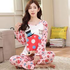 19 Styles Casual Women Pajamas Set Cartoon O-Neck Long Sleeve Pyjamas For Women Summer Nightwear Sleepwear Suit Pink M~XL