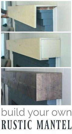 Learn how to build a simple diy fireplace mantel. This rustic fireplace mantel h… Learn how to build a simple diy fireplace mantel. This rustic fireplace mantel has the charm of reclaimed wood but is inexpensive and easy to make. Rustic Fireplace Mantels, Fireplace Redo, Fireplace Design, Diy Mantel, Reclaimed Wood Mantle, Fireplace Diy Makeover, Fireplace Ideas, Mantle Ideas, Rustic Mantle Decor