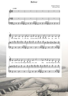 Ноты Imagine Dragons - Believer - Пианино&Вокал Imagine Dragons Believer, Sheet Music, Notes, Report Cards, Music Sheets