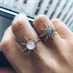 A statement moonstone ring set in 14K yellow gold plated brass. This glowing cocktail ring is the perfect stunner to add to your collection.