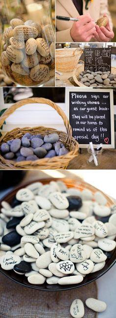 unique wishing stones wedding guest books ideas #WeddingIdeasUnique