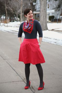 Vintage scarf, boat neck tee, pink full skirt, tights, pumps
