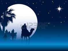 Nativity scene with wise men on camels going through the desert ✨