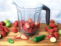 A pitcher of our Strawberry Jalapeno Lime Daiquiri is frosty and amazing, the perfect refreshment. I love strawberry daiquiris and they always turn out better when I use fresh strawberries. Easy Pina Colada Recipe, Strawberry Daiquiri Recipe, Strawberry Slice, Fruity Cocktails, Summer Cocktails, Frozen Daiquiri, Frozen Strawberries, Other Recipes, Cocktail Recipes