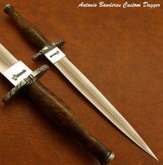 Antonio Banderas RARE 1 of A Kind Custom Dagger Knife Burl Wood Damascus | eBay
