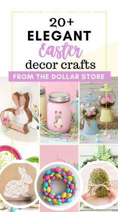 Beautiful Easter decor can be really inexpensive with creative crafts - these are with dollar store supplies! This collection includes painted and moss bunnies, beautiful eggs with string and buttons, tablescapes, wreaths and a lovely paper Swedish Easter Tree. These Easter dollar store crafts are beautiful! Bunny Crafts, Easter Crafts For Kids, Dollar Store Crafts, Dollar Stores, Spring Crafts, Holiday Crafts, Vintage Jars, Diy Easter Decorations, Easter Tree
