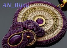 Purple gold Soutache pendant with Jadeite and Haematite.