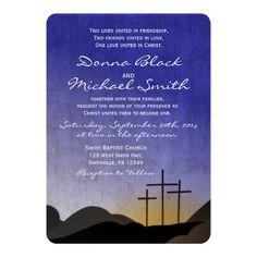 Three Crosses Religious Wedding Invitation Custom Office Party Invitations #office #partyplanning
