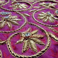 Bullion Embroidery, Zardosi Embroidery, Tambour Embroidery, Hand Embroidery Videos, Hand Work Embroidery, Rose Embroidery, Hand Embroidery Designs, Zardosi Work Design, Hand Work Blouse