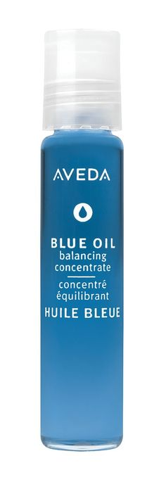 #AVEDA Blue Oil Balancing Concentrate.  Stress-relieving blue oil helps dissolve tension and raise energy levels with the balancing aromas of refreshing peppermint and soothing blue camomile. When gently touched to skin, its special rollerball applicator releases the perfect amount of concentrate for on-the-spot, cooling acupressure therapy.  Calms body and mind.  Conditions and relaxes scalp.  Eases tired muscles.  Excellent for self-massage.  Slips into pocket.
