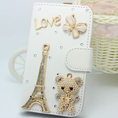 3D luxurious Diamond crystal PU leather case for SAMSUNG GALAXY TREND DUOS S7562