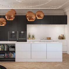 Collection of large spherical copper lampshades in a kitchen diner Kitchen Tile Diy, White Kitchen Cabinets, New Kitchen, Kitchen Decor, Black Kitchens, Cool Kitchens, Fitted Kitchens, Black And Copper Kitchen, Series Black
