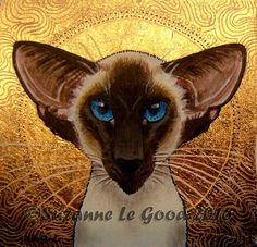 ORIGINAL SEALPOINT SIAMESE CAT ICON GOLD METAL LEAF PAINTING BY SUZANNE LE GOOD in Collectables, Animals, Cats | eBay