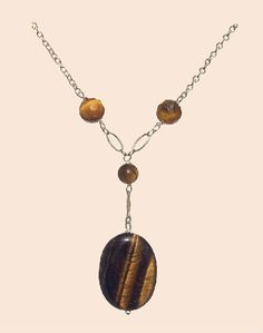 Tiger Eye Necklace, Brown Necklace, Oval Necklace, 925 Silver Necklace, Natural Stones Necklace, Handmade Necklace, Capricorn de ArtGemStones en Etsy
