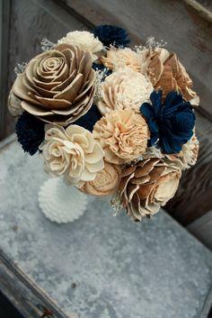 Sola flower bouquet, brides wedding bouquet, champagne and navy blue wedding flo. Champagne Wedding Flowers, Cheap Wedding Flowers, Winter Wedding Flowers, Prom Flowers, Sola Flowers, Wood Flower Bouquet, Flower Bouquet Wedding, Blue Bouquet, Flower Bouquets