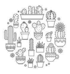 Cactus kleurplaat