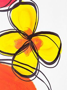 For art lesson? Using a pencil, lightly sketch several loose, abstract flower petals. Fill in the petals using acrylic paint in bold colors. While the paint is still wet, use a complementary color to add and blend highlights to the center of each flower. When all of the paint is dry, outline each flower using a thick, black marker.