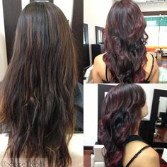 New Hair Burgundy Highlights Violets Ideas Dark Ombre Hair, Ombre Hair Color, Blonde Color, Hair Colors, Dye My Hair, New Hair, Your Hair, Hair Highlights, Burgundy Highlights