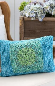 Mod Granny Pillow Front Free Crochet Pattern from Aunt Lydia's Crochet Thread