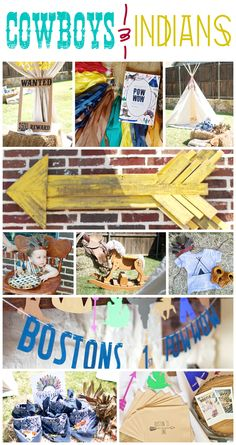 Cowboys and Indians party for Boy 1st Birthday Party. DIY Pow-Wow Themed Birthday Party for the boy who loves playing cowboys and Indians! Full decor includes drink station, creative party desserts display, unique and fun photo booth setup with props, plus fun take on cake smash with a pie smash instead!