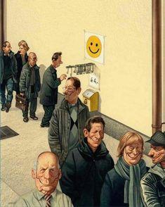 Cet artiste autrichien, qui aété condamné etmenacé d'emprisonnement pour ses caricatures trop osées, continue àdessiner savérité...