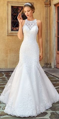 Marvelous Tulle Jewel Neckline Natural Waistline Mermaid Wedding Dress With  Lace Appliques   Beadings Abiti Da d296ced2015