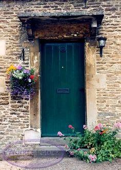 Green Door Of Stone House With Flower Garden In England,   ღ