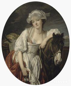 우유를 나르는 여인, 장 밥티스트 그뢰즈, 19세기경, 신고전주의, 루브르 박물관  그뢰즈의 아내.  제목에서도 우유를 나르는 여인이라 하였고, 실제로도 우유 계량컵을 손에 든 그림속 여자는 사실 옷차림이 어울리지 않는다. 신분과 맞지 않는 우아한 옷을 입고 있다. 그럼에도 관능적 느낌을 준다  대상 자체는 일반적인 사람으로도 확대가 되었지만 옷차림같은 건 아직 정형화된 아름다움 추구?