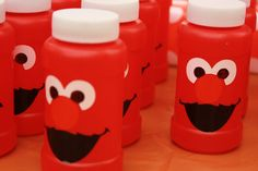 So clever! These Elmo-ized bubbles would be a great party favor!  Note: A LOT of really cute ideas for an Elmo birthday party.  Wish I had seen this for my older daughter's Elmo party.  Will definitely use these for my younger daughter's.  Second Note:  This pin is pictures only. But really cool ideas, and most look easy to do - and fun!