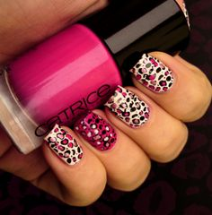 leopard nail design i love the colors <3