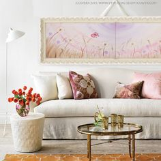 150 euro - DANDELION Art Painting Landscape Long orchid Floral Painting on canvas Original Abstract Flowers Acrylic Contemporary sunset wall art meadow