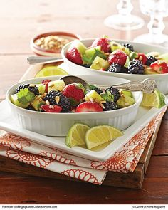 Zesty Fruit Salad - WHISK: 1/4cup honey,2Tbsp. fresh lime juice,1/2tsp. chili powder - TOSS:1cup hulled, halved fresh strawberries,1cup fresh blackberries,1cup cubed honeydew melon,1/4cup fresh cilantro leaves,1Tbsp. minced lime zest - GARNISH:1/4cup dry-roasted sunflower seeds