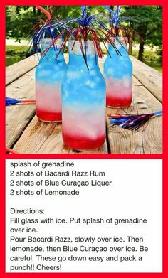 Food Ideas for a BBQ Party - EASY Summer Cookout Foods We Love Summer Cookout Food and Drinks Ideas - red white and blue adult cocktail drinks recipe - great for a of July party Bbq Party, Party Drinks, Cocktail Drinks, Fun Drinks, Beverages, Food And Drinks, Bomb Drinks, Cocktail Glass, Fourth Of July Drinks
