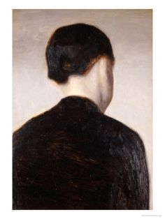 A Girl from Behind, Half Length, circa 1884 Giclee Print by Vilhelm Hammershoi at Art.com