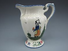 French Peasant pottery | BLUE RIDGE POTTERY PITCHER WITH FRENCH PEASANT : Lot 340