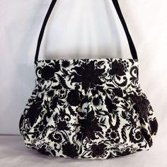 Gathered Bag / Purse - Black Floral Cotton fabric