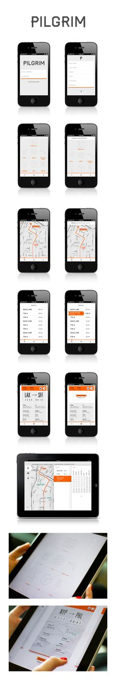 "Pilgrim by Nicole Gavrilles / via Behance / ""Pilgrim is a mobile application that will navigate you to your destination once you leave the airport. After the user enters his destination, Pilgrim will offer various routes and transportation options. We want the user to feel like they are on an adventure by providing them the freedom to pick the route they feel is the best"""