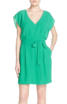 Free shipping and returns on Adelyn Rae Belted Short Sleeve V-Neck Dress at Nordstrom.com. A short-sleeve V-neck dress shaped from stretch-crepe fabric features an elegant V-neckline and a pleated bodice, while a tonal belt ties into a pretty bow, highlighting your waist.