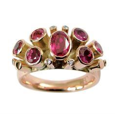 Helen Brice Designs. Ruby & Diamond Rose Gold Ring