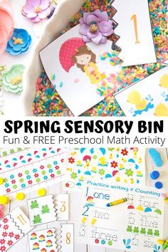 Are you looking for fun ways to help your kids practice counting, patterns and numbers? This easy sensory bin is a fun preschool activity full of math fun that you and your kids can create at home.  Perfect for sensory seeking kids, you can use this colorful spring activity with your kids who are learning from home during the social distancing. A fun hands on activity for parents to provide their young children when they are working from home.  #workfromhome #socialdistancing #homeschool