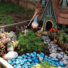 I finally got my gnome garden completed. Still need to make a gazing ball and bridge for the stream.