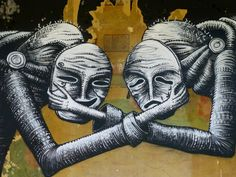 phlegm: Tragedy and Comedy: Attercliffe side of sheffield. Painted on the decaying wall of an old theatre stage. Sheffield Art, Comedy And Tragedy, Theatre Stage, Public Art, Graffiti, Street Art, Lion Sculpture, Statue, Gallery