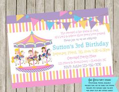 Carousel party invitation and thank you by FunFiestaPartyDesign