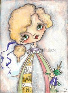 Original Painting on Wood  by Diane Duda Frog Princess  ©dianeduda/dudadaze  original sold... prints available