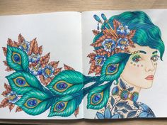 From the Swedish Magisk gryning, by Hanna Karlzon, adult colouring inspiration. Coloured by Sandra Caldwell.