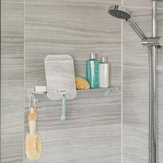 The GLIDE Shower Shelf with fog-resistant mirror combines contemporary design with the strength of rust proof aluminum, and securely installs with silicone glue. Mirror glides along shelf and can be easily removed to allow for a close shave. Shower Soap, Shower Niche, Shower Shelves, Shower Accessories, Bath Girls, Soap Holder, Modern House Plans, Bath Remodel, Shower Heads