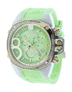 Technosport TS-103-5 Women's Swiss Light Green Chronograph Watch Crystal Accented Bezel