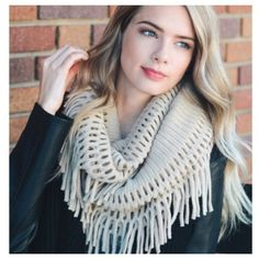 Image result for chenille tassel infinity scarf cream