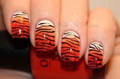 ombre zebra nails